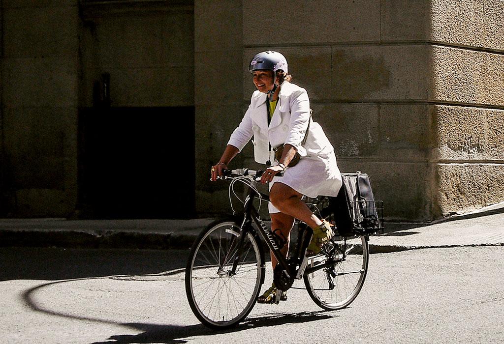 Happy on a bike