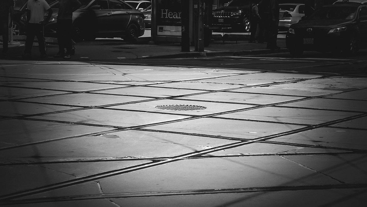 Streetcar tracks in Toronto