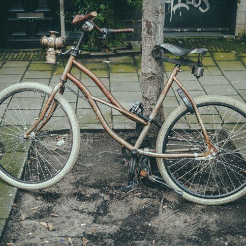 Retro bike with vintage lamp
