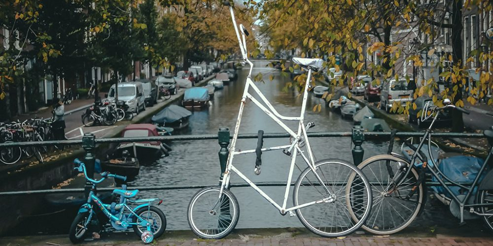 tall bicycle with children's bike