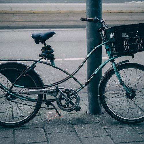 Vintage bicycle with curly frame