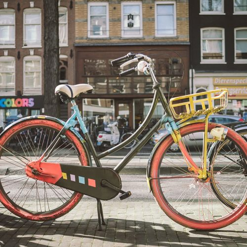 Bicycle portrait of multi-colored bike