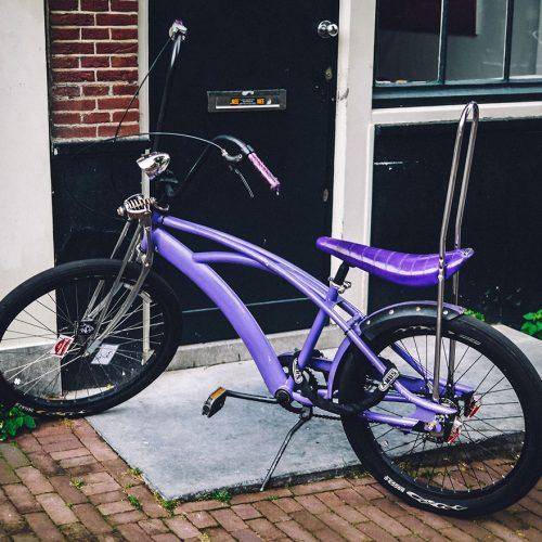 Purple Lowrider bicycle