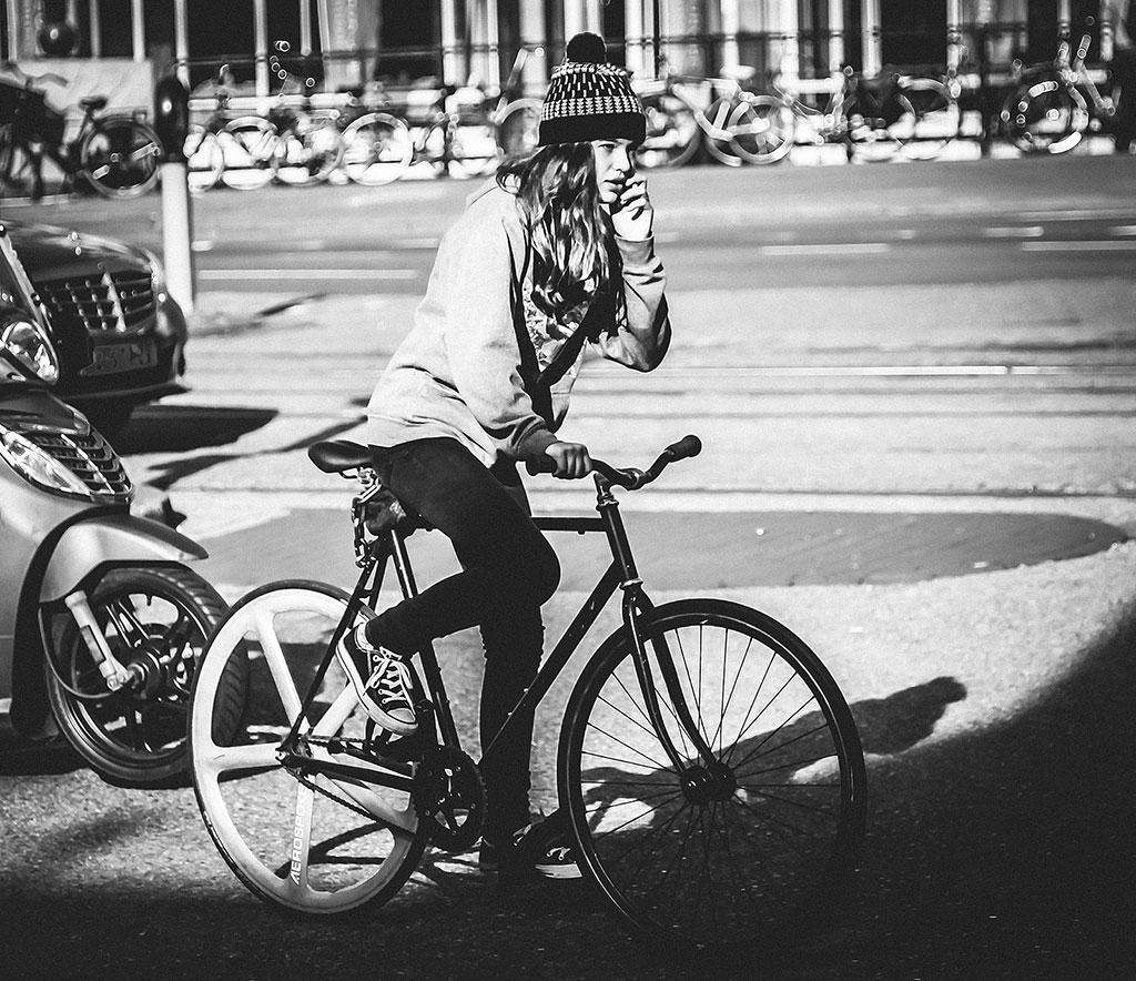 Bicycle Street Photography in Amsterdam | Fixie Girl