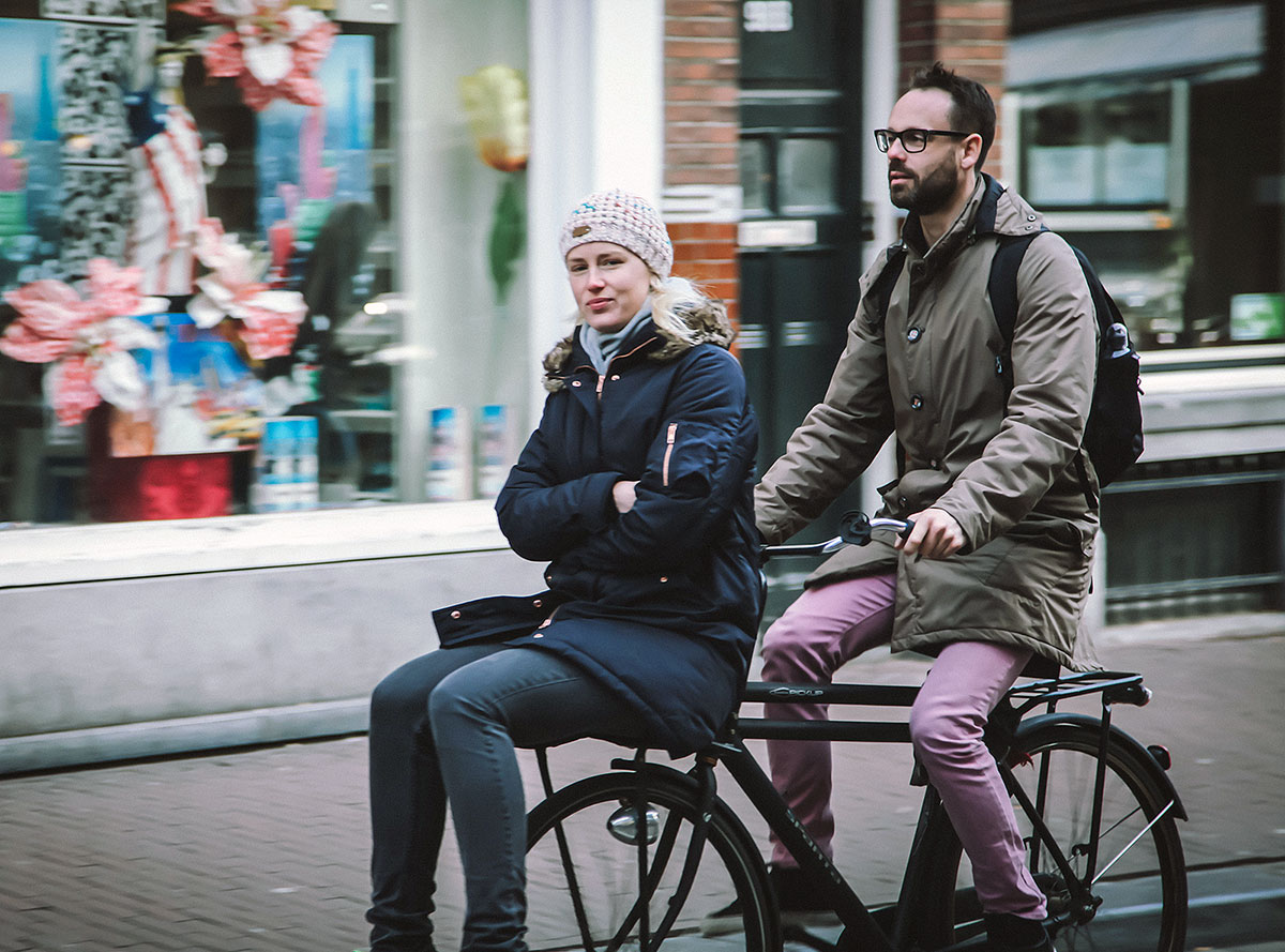 Carrying a Passenger in Amsterdam | Wheelbarrow method