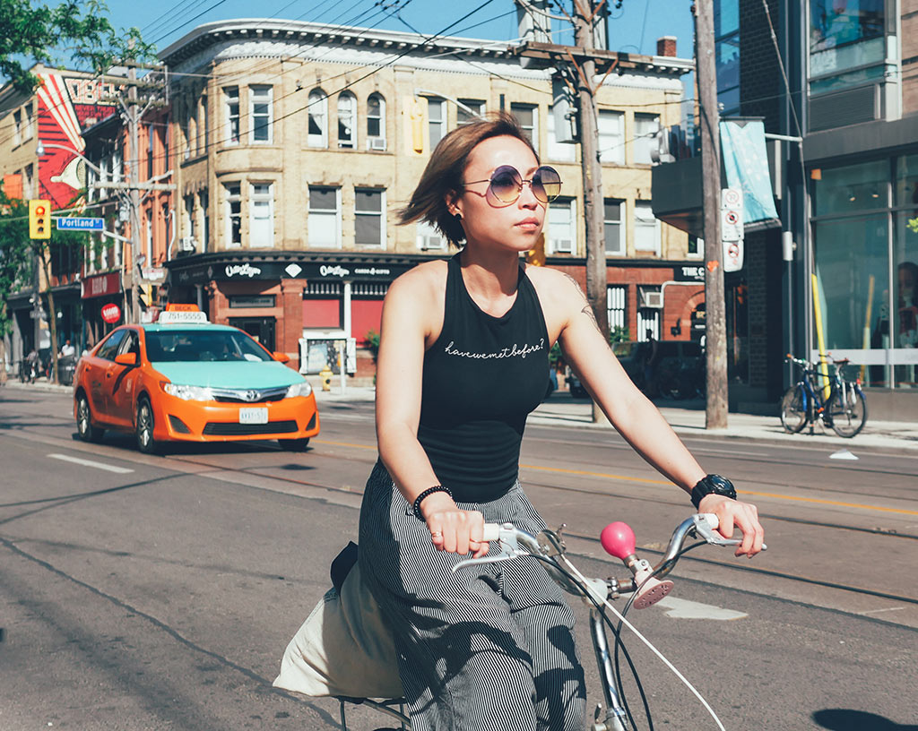 Toronto cyclists along Queen West