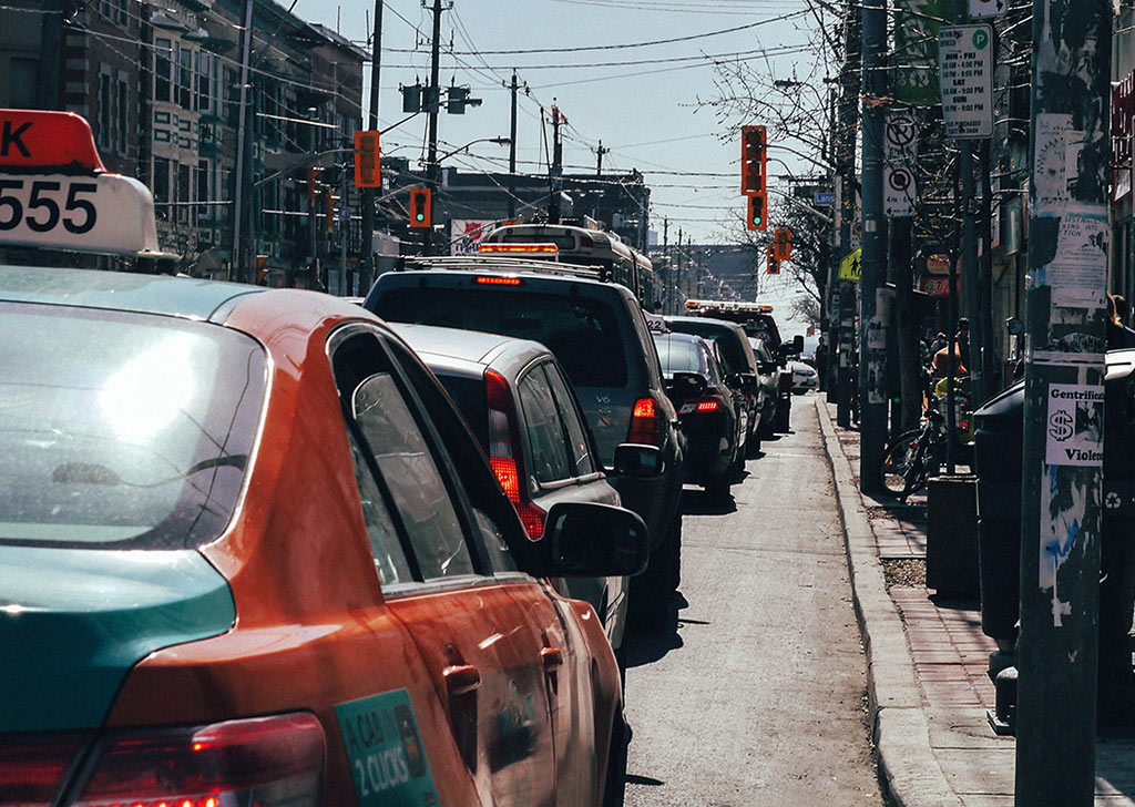 Traffic along Queen West