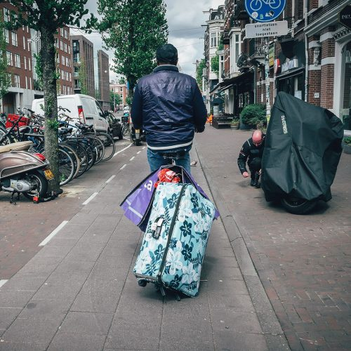 Riding a bike with luggage
