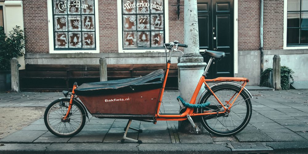 Parked Bakfiets with cover