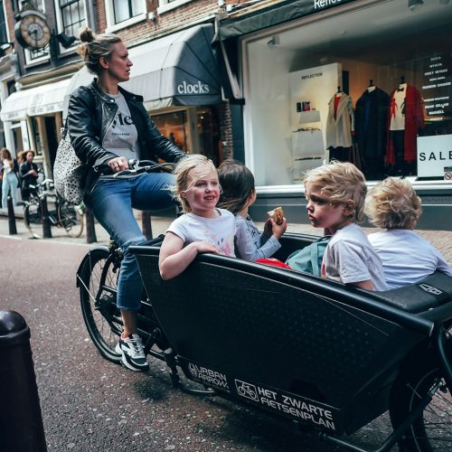 Urban Arrow cargo bike with kids