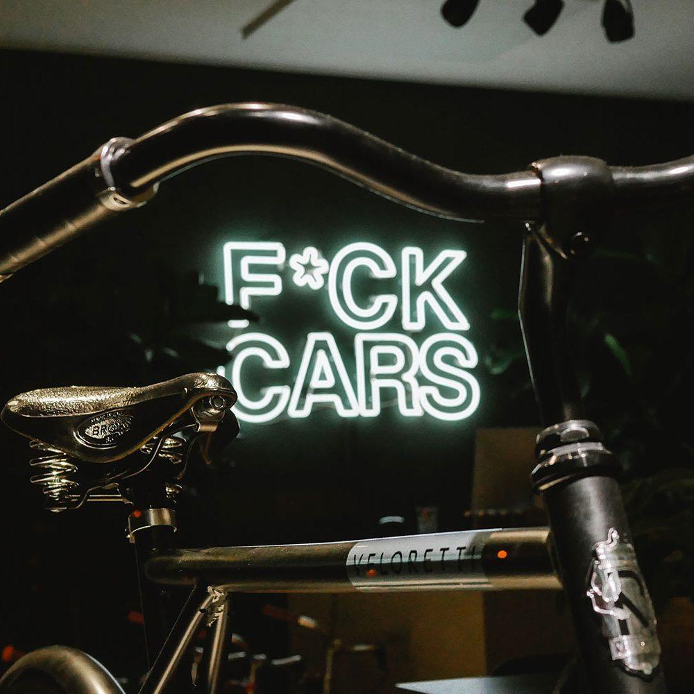 Fuck Cars Veloretti slogan bike motto