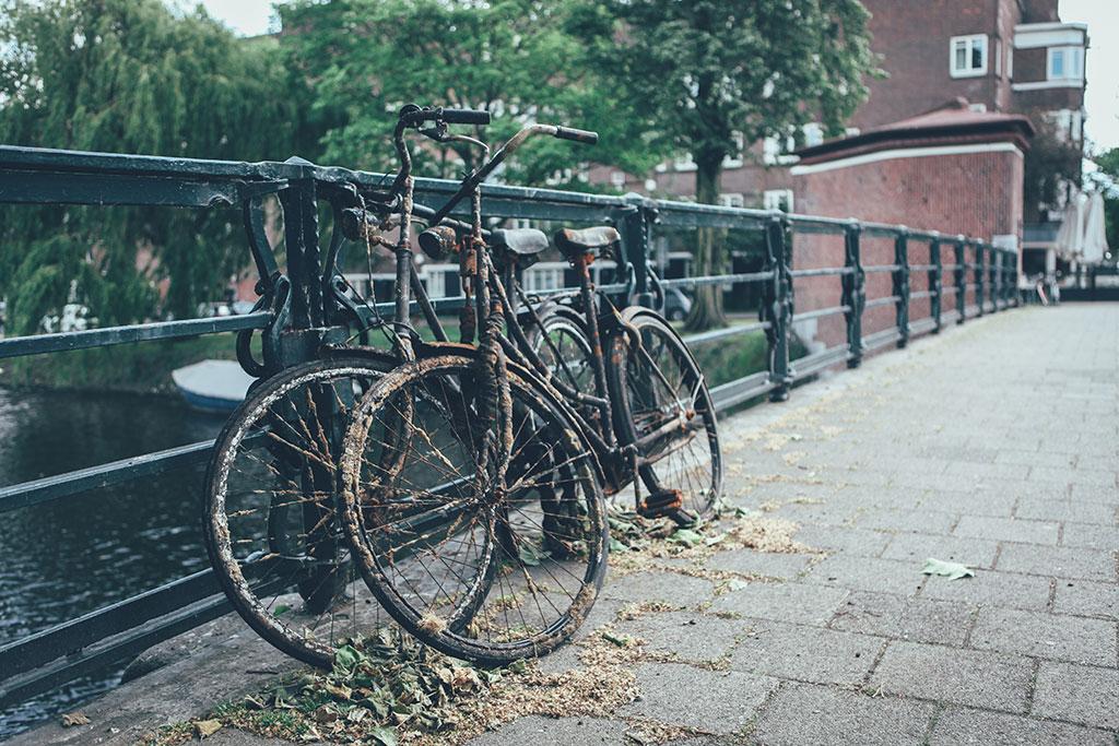 Canal bikes on a bridge