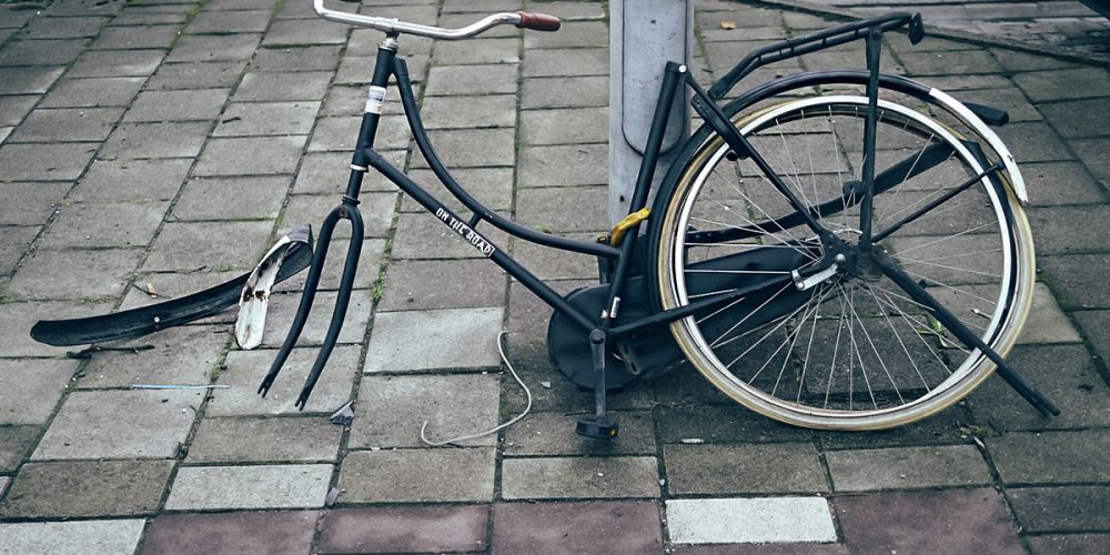 Broken and abandoned bikes