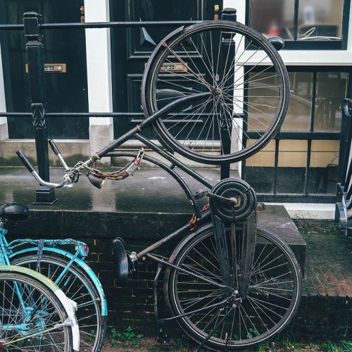 Weird way to park a bicycle