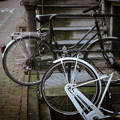 Bicycle parked on stairs