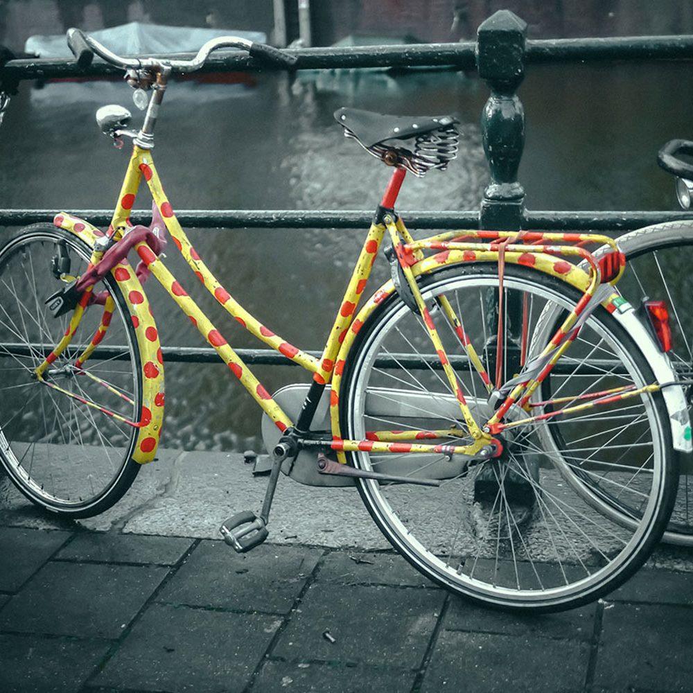 Painted polka-dot bike