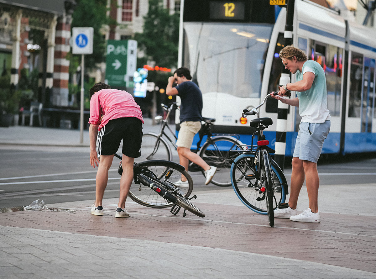 Bicycle accident in Amsterdam during COVID-19 pandemic