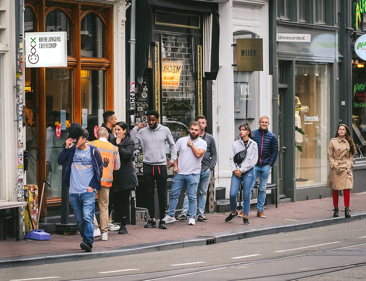 People waiting in line at Boerejongens cannabis store during Covid-19