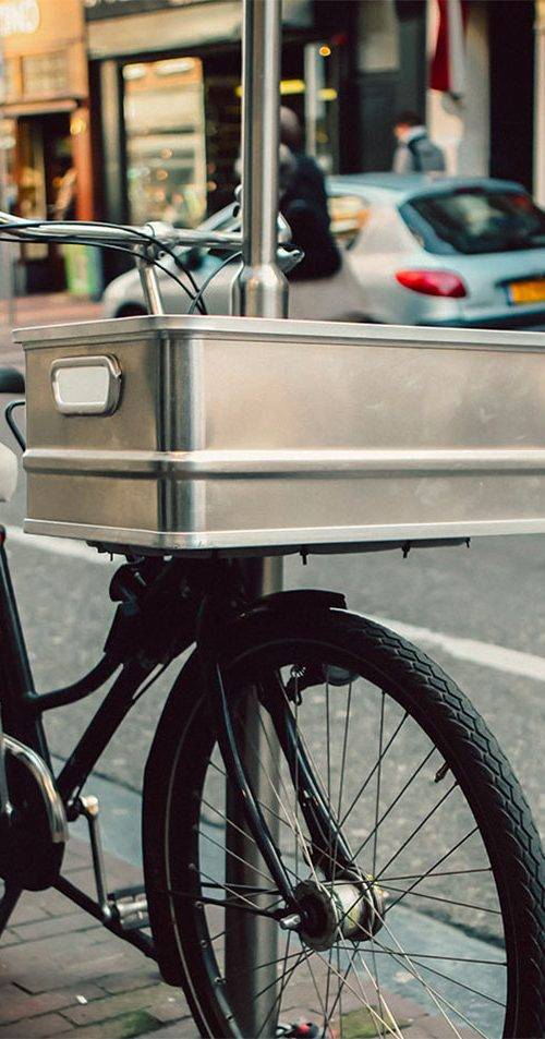 Metal box bicycle basket