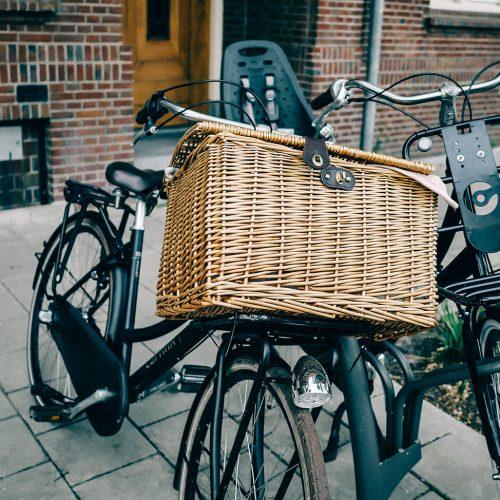 Bike basket with lid