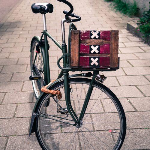 Bike basket in Amsterdam with triple XXX