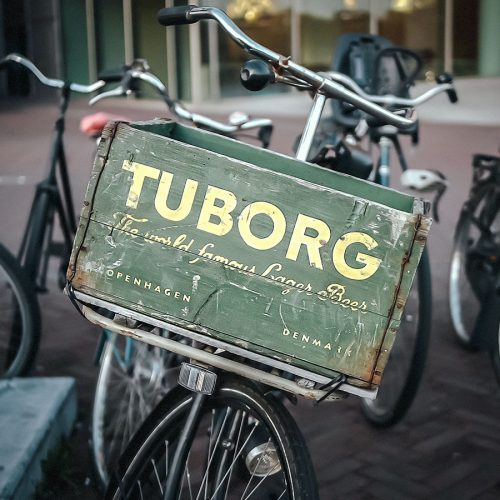 Tuborg wood bicycle crate