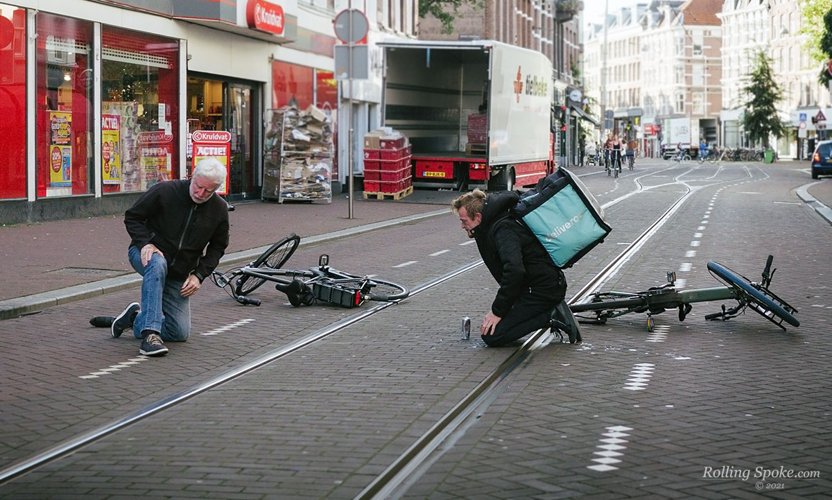 Electric bikes in accident