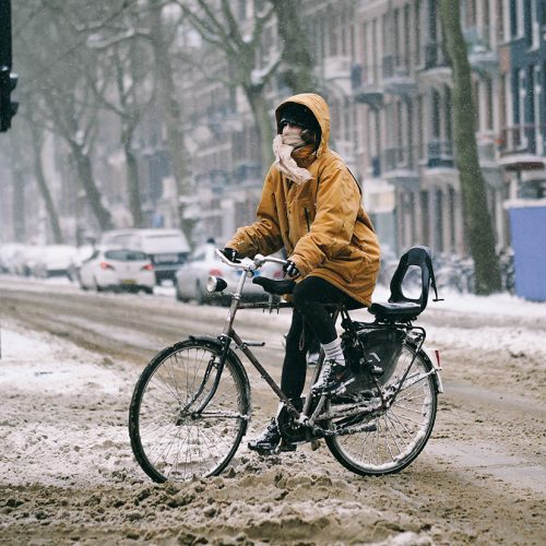 Riding a bike in snow