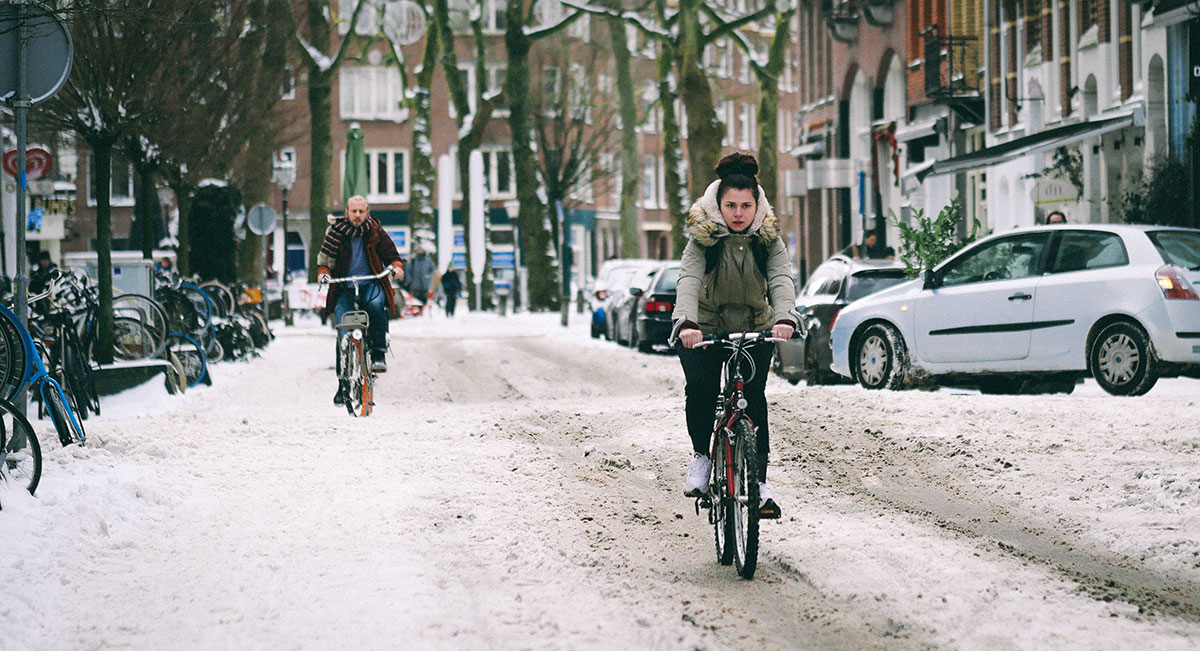 Bikes on snow covered streets