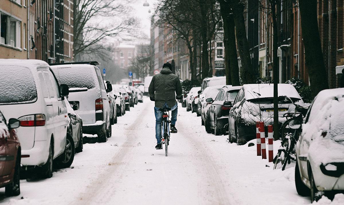 Bike going down a snowy street