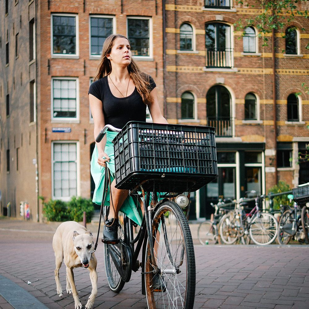Girl riding a bike with dog