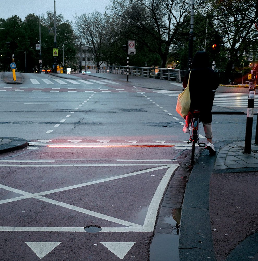 Red light bar for cyclists in Amsterdam