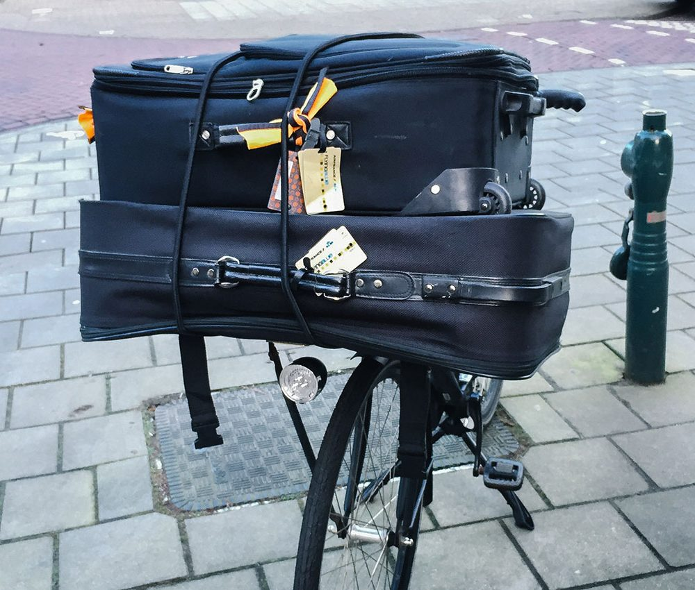 Suitcases on a bike